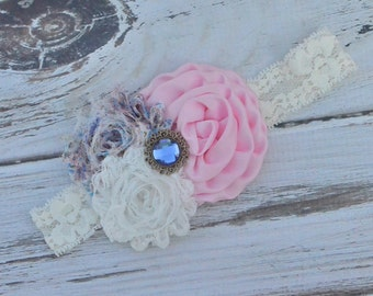 Pink & White Floral Lace Headband