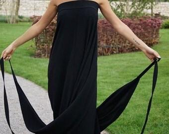 Multifunctional Long Skirt/Black Long Skirt/ Black Dress/Creative Long Skirt