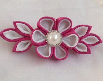 kanzashi flower barrette clip, raspberry pink and white, wedding, hair accessory