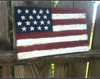 Small US barn wood flag- Patriotic Wall Art- American Flag- Barn Wood- Distressed flag- Memorial Day- 4th of July- USA