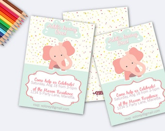 Baby Girl's First Birthday Invitation! Adorable Pink Elephant First Birthday Printable Party Invitation!