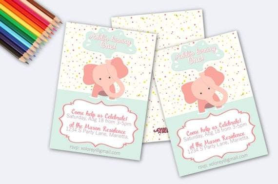 Baby Girls First Birthday Invitation! Adorable Pink Elephant First ...