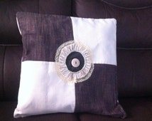 Decorative pillow   pathwork brown and ivory  with   decorative  button,    zipper,  pillow designs     - Ready  to  Ship