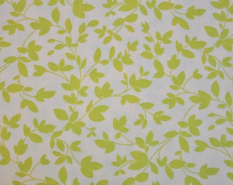 Destash fabric Oh Deer by momo for moda green leaves swirly vines on white 1 fat quarter cotton quilt fabric Out of Print oop