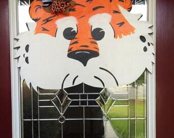 Aubie Tiger Wooden Door Hanger