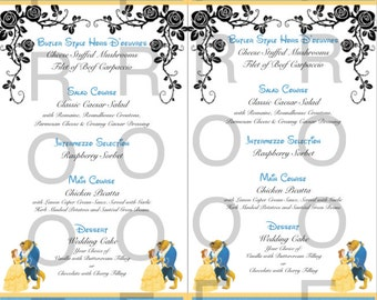 50 Beauty and the Beast Wedding/Event Menus