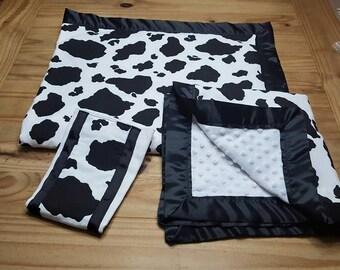 Minky Blanket, cow print, baby blanket, western blanket, cowboy blanket, cow pint, mink, minky blanket, baby shower gift, nusery bedding