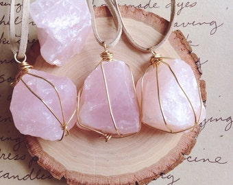 Rose Quartz Necklace - Rose Quartz - Crystal Necklace - Raw Crystal Necklace -Raw Stone Necklace - Wire Wrapped Stone