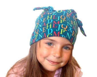 Kids hat  Back to school/  Alphabeth hat/ Toddler hat / Organic cotton hat