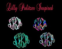 Lilly Pulitzer Inspired Monogram Decal- Lilly Pulitzer Inspired Master Circle Font Decal