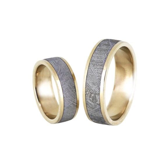 meteorite wedding band meteorite ring with 18k gold