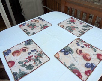 """Heavy cotton  placemats, printed fruit cotton 12"""" x 13,5"""" fabric placemats, ready to ship"""