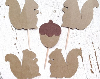 Squirrel & Nut Party Picks | Set of 12