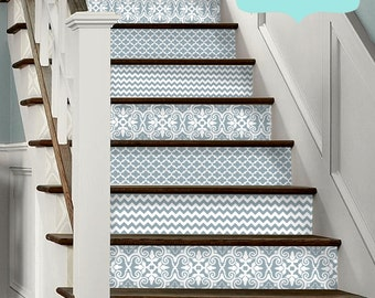 15 strips of Stair Riser Vinyl Decal Removable Sticker Peel & Stick: BlueAshTrio
