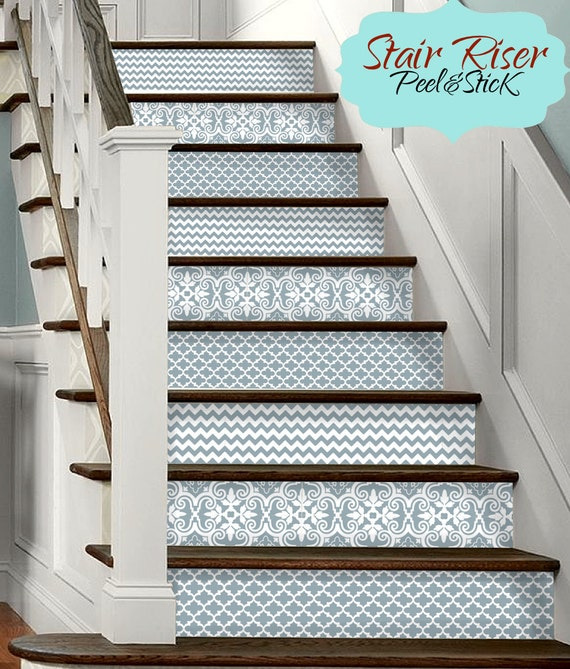 15 strips of stair riser vinyl decal removable sticker peel. Black Bedroom Furniture Sets. Home Design Ideas