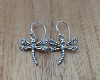 Dragonfly Earrings // Silver and Gold Dragonfly Earrings // Small Dragonfly Earrings // 925 Sterling Silver with Real Gold // Hook Backing