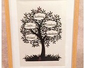 5 Name Family Tree Paper Cut / Papercut Template - Commercial Use - Instant download.