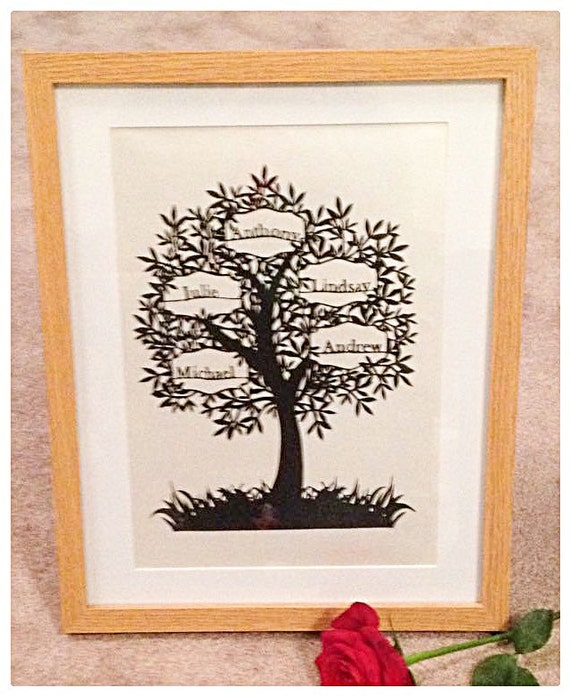 5 Name Family Tree Paper Cut Papercut Template Commercial