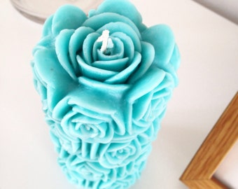Large Pillar Candle, Turquoise Pillar Candle, Unscented Candle, Tall Candle, Floral Candle, Shaped Candle, Hand Made Candle, Pillar Candle