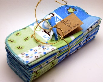 Cloth Wipes-Set of 12 Flannel Wipes- Jungle Quilt/Blue and Green Squares