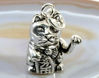 Cat pendant silver jewelry, movable-cat Winkekatze pendant silver Jewelry-3104