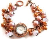 Victorian Watch Bracelet, Pink Pearl Bracelet, Victorian Copper Bracelet Watch, Victorian Jewelry