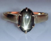 Classic Vintage 1960's 14k Yellow Gold Natural Black Star Sapphire Solitaire Ring 2.7ct