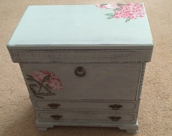 Shabby Chic Table Top Jewelry Chest Pale Blue-- Hand Painted Decoupage
