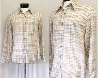 Vintage Mens Plaid Light Weight 1970s Cotton Button Up // mens vintage 70s thin cotton button up