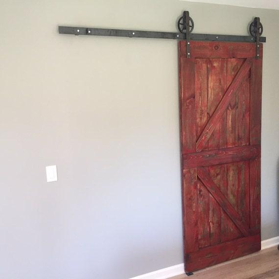 Custom farmhouse rustic sliding barn door made by for Farmhouse sliding door