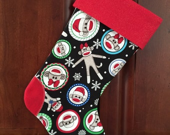 Sock Monkeys and Snowflakes Christmas Stocking