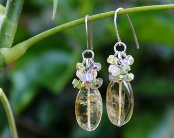Citrine Multi Gemstone Cluster Earrings.Sterling silver.Dangle.Drop.Statement.Bridal.Mother's Valentine.Holiday.Gift.Graduation.Handmade.