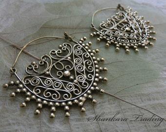 Brass Tribal Earrings, Gypsy Hoop Earrings, Ethnic Earrings, Tribal Brass Earrings, Festival Jewelry, Indian Brass Earrings, Boho Jewelry
