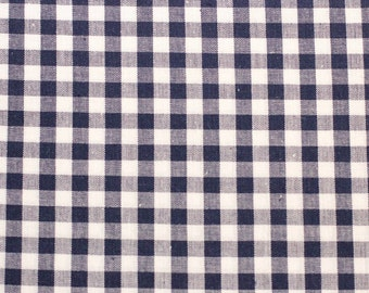 Vintage Navy Gingham, Checks, Plaid, White, Navy, Picnic, 100% Cotton, Sewing, Quilting, Clothing, Handmade, Vintage