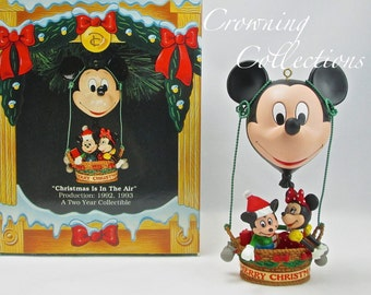 Enesco Christmas is in the Air Ornament Disney Mickey Mouse Minnie Mouse Hot Air Balloon Tree