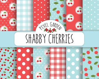 Shabby Cherry Digital Paper Pack, Cottage Chic Scrapbooking Paper, Digital Clip Art, Printable Paper, Printable Card.