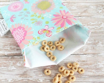 reusable lunch bags for women - snack bag for girls - large floral print lunch bag - womens bag reusable - washable snack baggie - lunch box