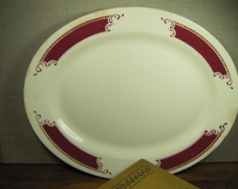 Vintage Homer Laughlin Large Serving Platter - Red Design Border