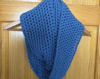 Crochet Infinity Scarf in Blue