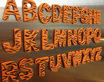 Wooden Alphabet magnetic letters; Tiger print; Orange & Black; ABC wood magnets; Fridge magnets; Kids gifts; ABC learning
