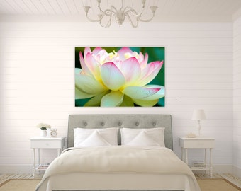 Lotus Flower ~ Wickford, Rhode Island, Canvas, Fine Art Photography, Wall Art, Floral, Yellow, Pink, Summer, Home Decor, Artwork, Photo