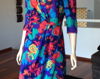80s Mary Martin Floral Cross Over Dress