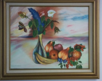 Oil on Canvas of Fruit and Flowers, Painting of Fruit and Flowers