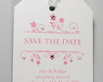 Diamond & Pearls Wedding Save The Date Tag Pink