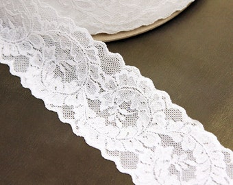 """2 1/2"""" Wide White Leaves Stretch Lace Trim, Sold by the Yard"""