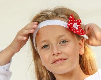 Red polka dot flower headband for girls - Baby and Girl flower headband - red flower girl headband