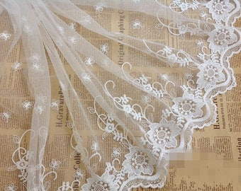 White Floral Lace Rayon Trim Embroidery Tulle Lace Trim 8.66 Inch Wide 2 Yards X071