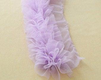 Purple Shabby Rose Trim Tulle Flower Lace Skirt Trim 3.93 Inch Wide 1 Yard X092