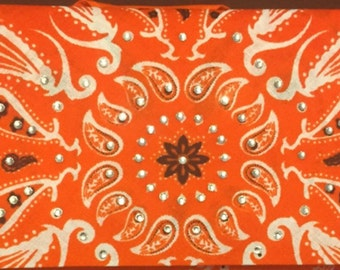 Orange paisley flower Bling Bandana