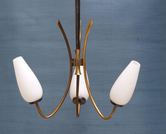 lustre vintage francais 3 branches opalines french vintage. Black Bedroom Furniture Sets. Home Design Ideas